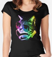 Rainbow Music Cat Women's Fitted Scoop T-Shirt