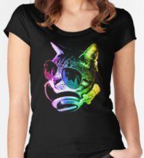 Camiseta entallada de cuello redondo Gato de música del arco iris
