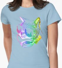 Rainbow Music Cat Womens Fitted T-Shirt
