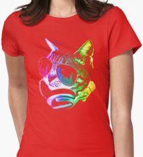 Rainbow Music Cat Womens Fitted T-Shirt