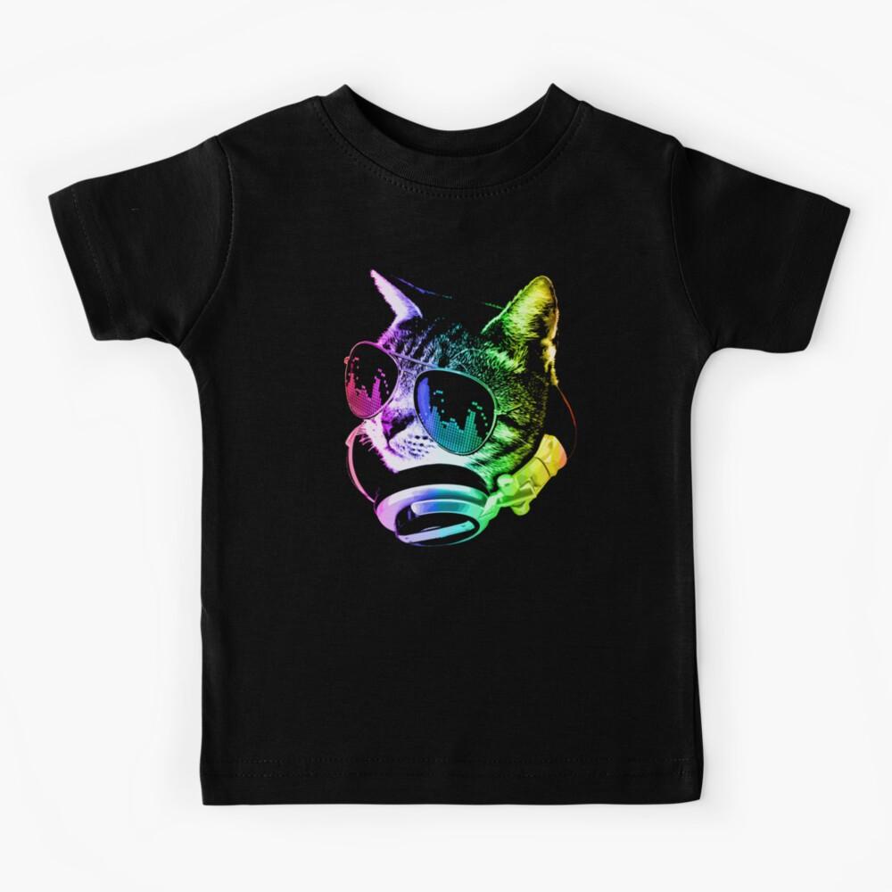 Rainbow Music Cat Kids T-Shirt