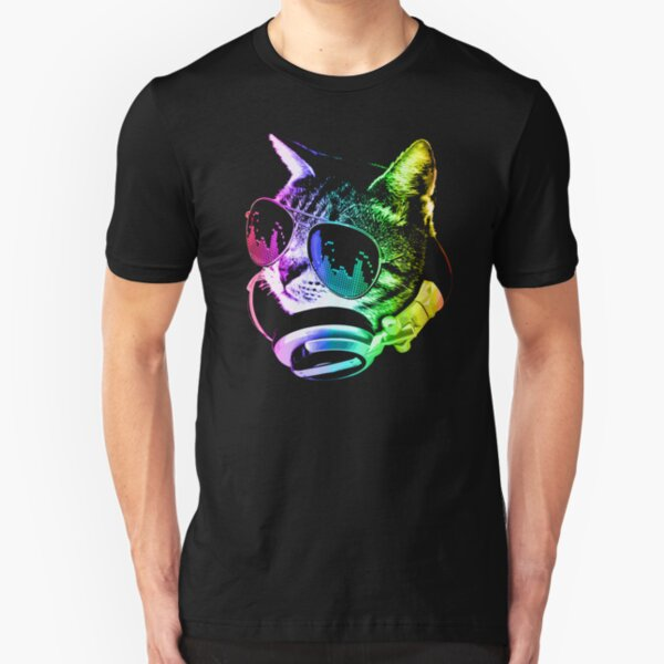 Rainbow Music Cat Slim Fit T-Shirt