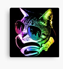 Rainbow Music Cat Canvas Print
