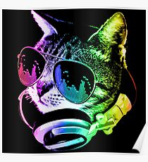 Rainbow Music Cat Poster