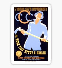 Antique American Recruitment Poster - Civilian Conservation Corps, Chicago (1936) Sticker