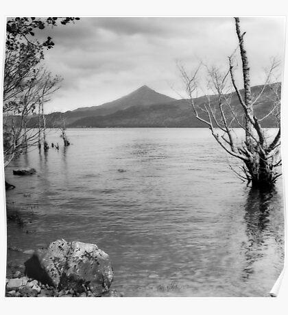 Loch Rannoch and Schiehallion, black and white Poster