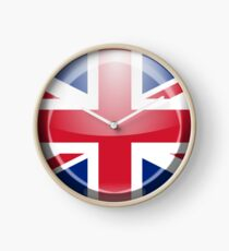 Union Jack, Button, BRITISH, Circle, British Flag, UK, United Kingdom, Pure & simple Clock