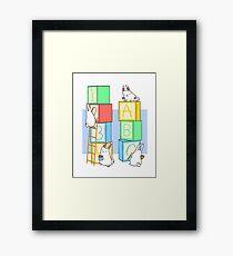 Bunnies and Blocks  Framed Print
