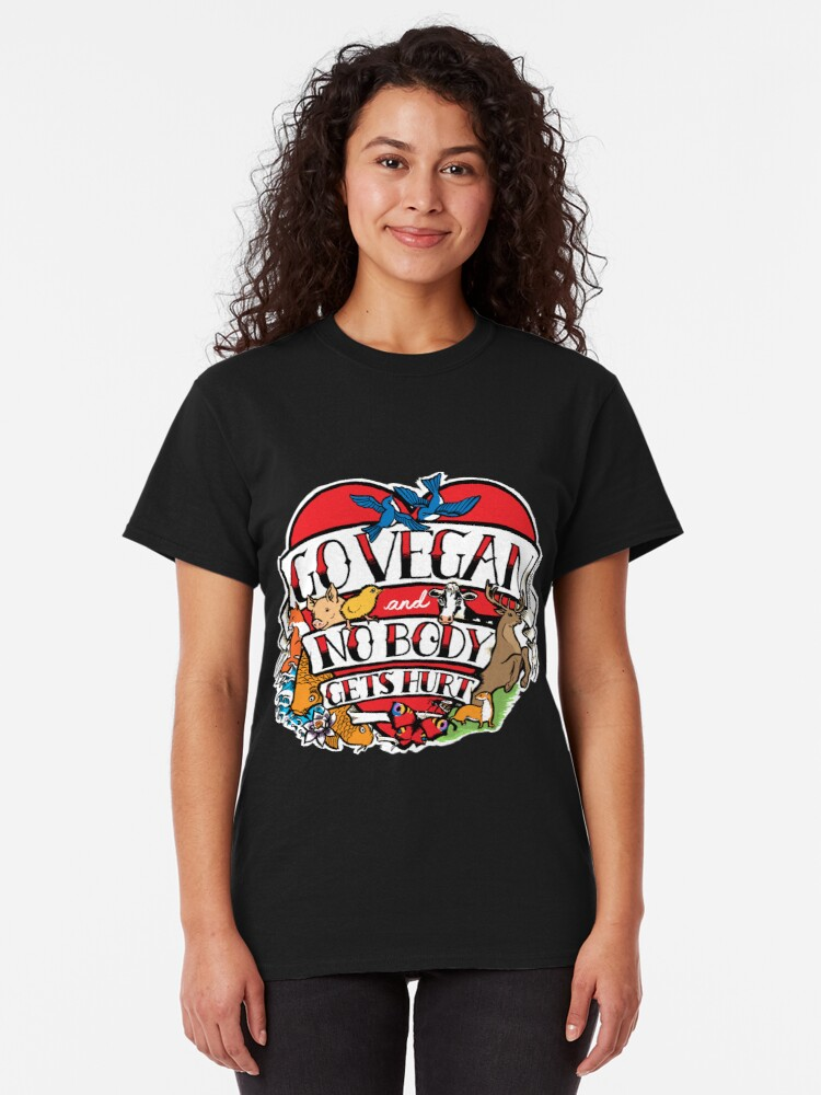 Alternate view of go vegan tattoo design Classic T-Shirt