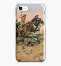 American, Cowboy, The Herd Quitter, Painting, C.M. Russell iPhone Case/Skin
