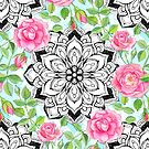 Pink Roses and Mandalas on Sky Blue Lace  by micklyn