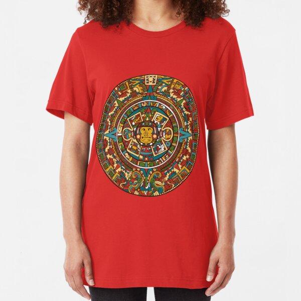 AZTEC WARRIOR LADY SUN STONE MAYAN CALENDAR PYRAMID PREHISPANIC T-SHIRT SHIRT