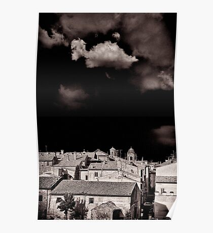 Cloud over Tuscania village, Italy. Poster