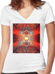 Spontaneous human combustion Women's Fitted V-Neck T-Shirt
