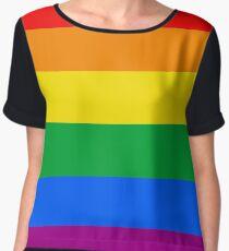 Gay Pride Flag Stripe Chiffon Top