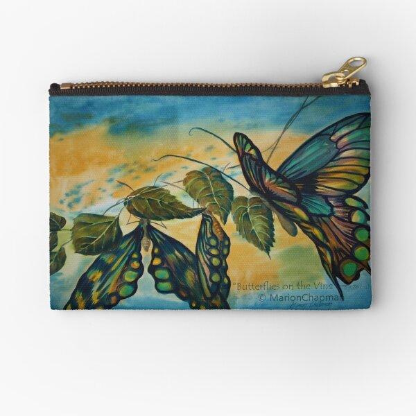 Watercolour: Butterflies on the Vine Zipper Pouch
