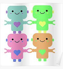 Multi-Colored Heart Robots Poster