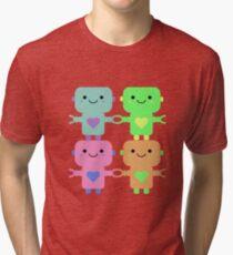 Multi-Colored Heart Robots Tri-blend T-Shirt