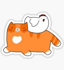 Orange Tabby and Chicken Sticker