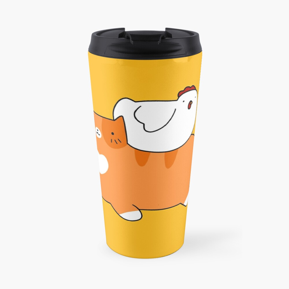 Orange Tabby and Chicken Travel Mug