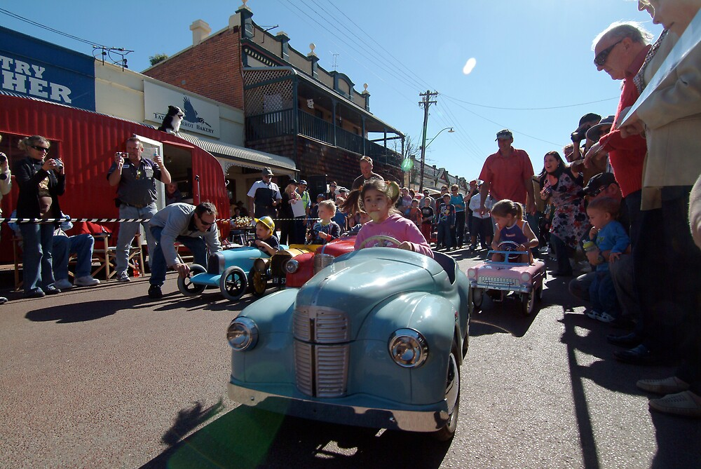 kids vintage pedal car race at york festival of motoring york western australia