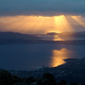 sunrise over Hobart from Mt Wellington 4000 feet hign by nickpage