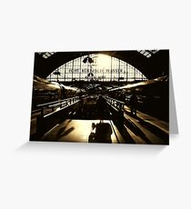 Cologne railway station monochrome Greeting Card