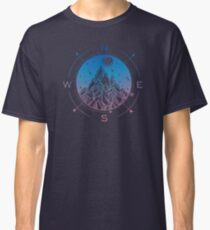 Wanderlust Tattoo of Hand Drawn Mountain Wind Compass Classic T-Shirt