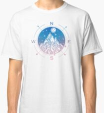 Wanderlust Tattoo of Hand Drawn Mountain Wind Compass Classic T-Shirt