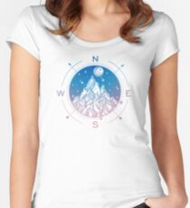 Wanderlust Tattoo of Hand Drawn Mountain Wind Compass Women's Fitted Scoop T-Shirt