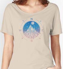 Wanderlust Tattoo of Hand Drawn Mountain Wind Compass Women's Relaxed Fit T-Shirt
