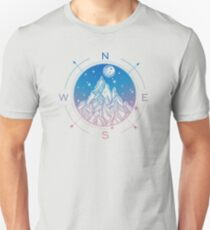 Wanderlust Tattoo of Hand Drawn Mountain Wind Compass T-Shirt