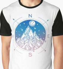 Wanderlust Tattoo of Hand Drawn Mountain Wind Compass Graphic T-Shirt