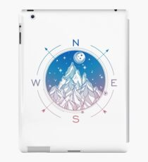 Wanderlust Tattoo of Hand Drawn Mountain Wind Compass iPad Case/Skin