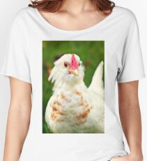 White Barbu d'Uccle bantam chicken Women's Relaxed Fit T-Shirt
