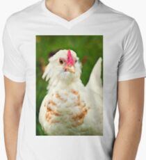 White Barbu d'Uccle bantam chicken Men's V-Neck T-Shirt