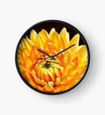 Bright Yellow Chrysanthemum Clock