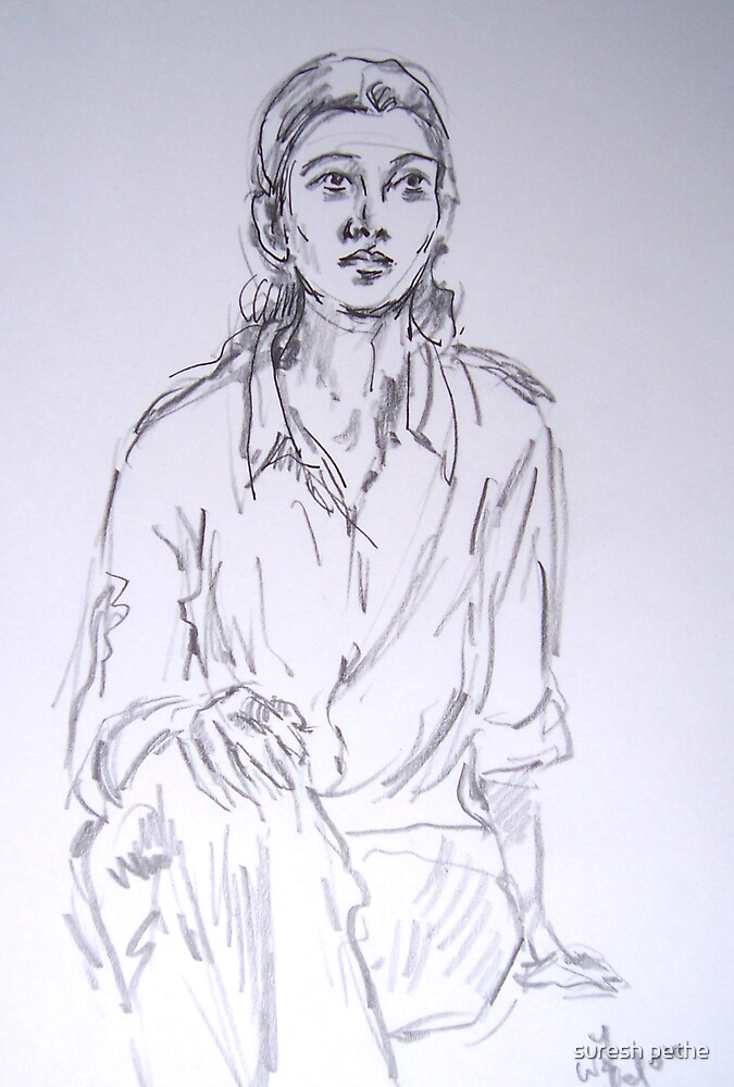 sketch of girl by suresh pethe