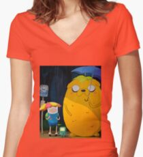 adventure time totoro and finn Women's Fitted V-Neck T-Shirt