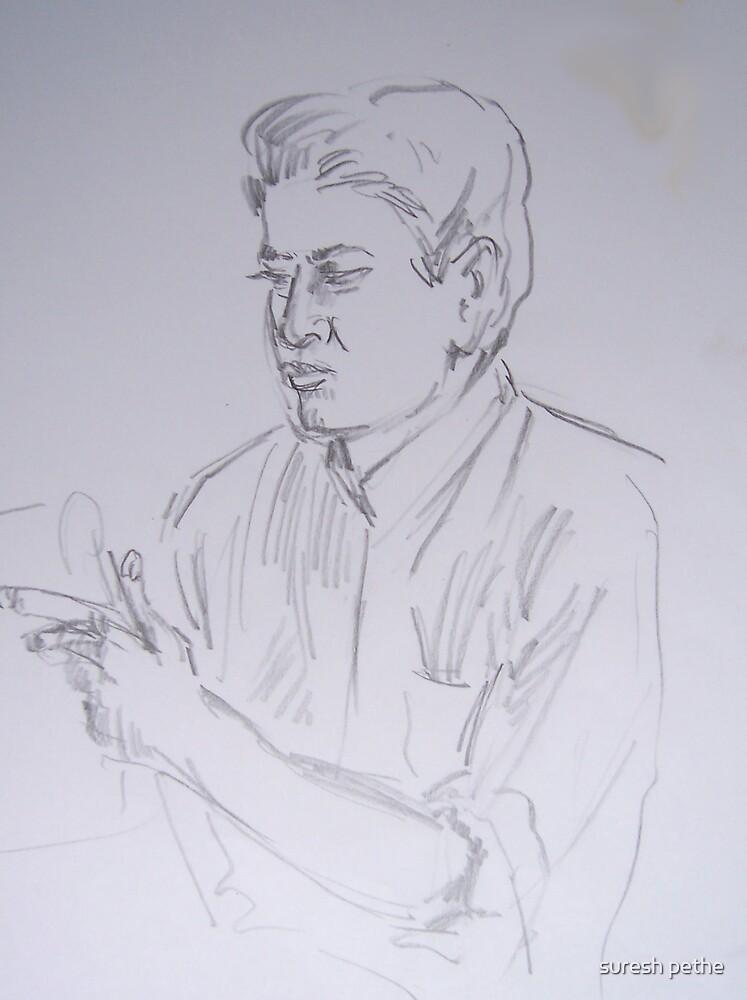sketch of man by suresh pethe