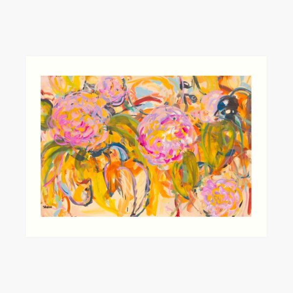Birds and Hot Pink Flowers Art Print