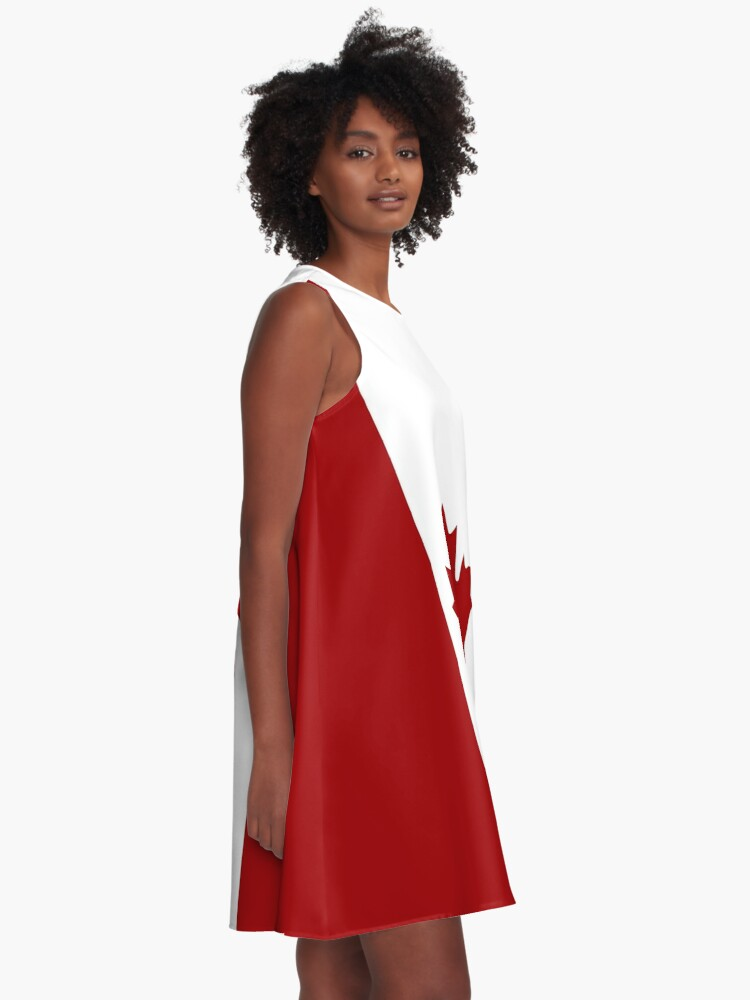 Alternate view of Canada: Canadian Flag (Red & White) A-Line Dress