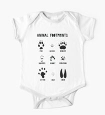 Animal Footprints - Black One Piece - Short Sleeve