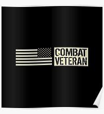 Combat Veteran: Black Military U.S. Flag Poster