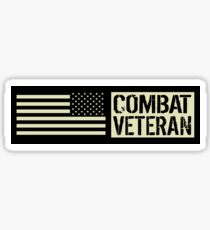 Combat Veteran: Black Military U.S. Flag Sticker