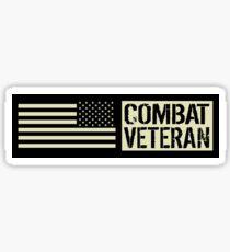 Combat Veteran: Black Military U.S. Flag Sticker