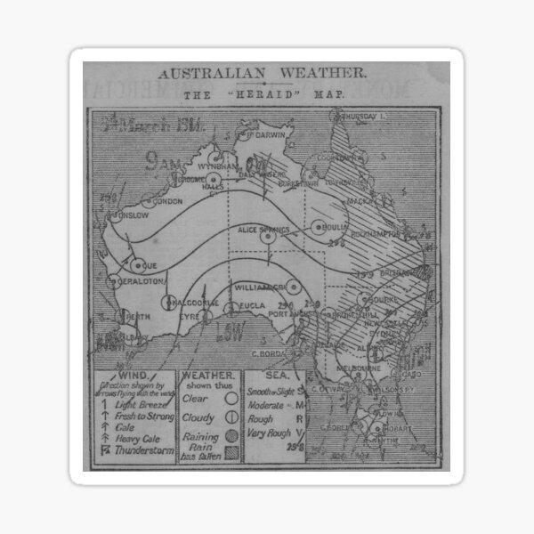 Australian Weather Map 3 March 1914 Sticker