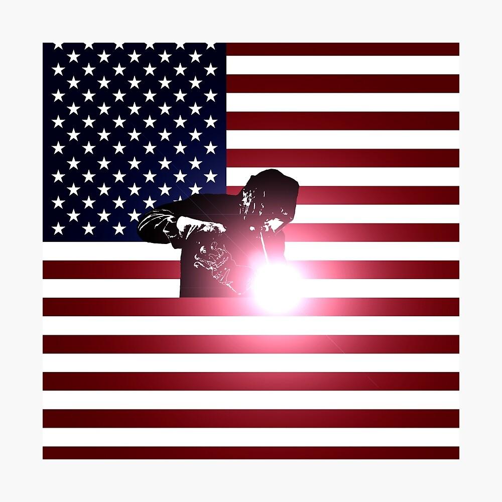 Schweißen: Schweißer & amerikanische Flagge Fotodruck