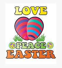 Easter Theme: Happy Easter Shirt For Kids Women Men  Eggs Bunny: Love Peace Easter Photographic Print