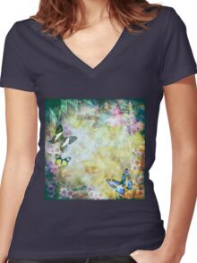 Vintage style Australian flora and butterflies Women's Fitted V-Neck T-Shirt